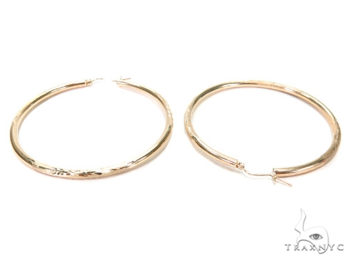 10k Yellow Hoop Earrings 42970 Style
