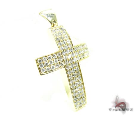 14k YG Diamond Cross Pendant Diamond