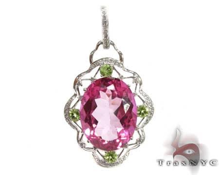 Pink Topaz & Peridot Pendant Stone