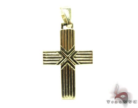 Striped Cross Crucifix Gold