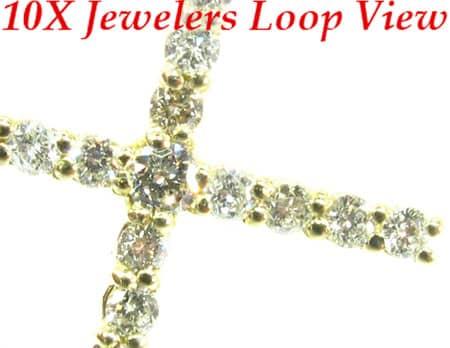 Round Cut Diamond Cross Crucifix 4 Stone