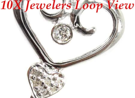 Diamond & Silver Heart Key Pendant Metal