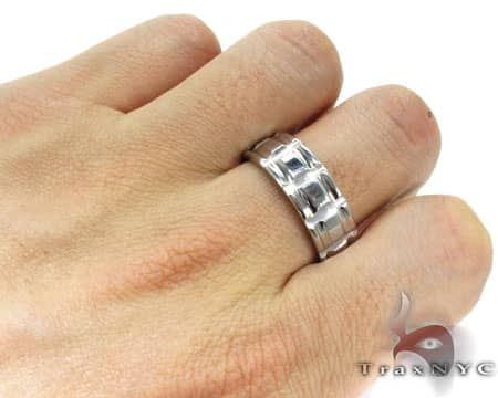 Mens Cheap Barred Stainless Steel Ring Metal