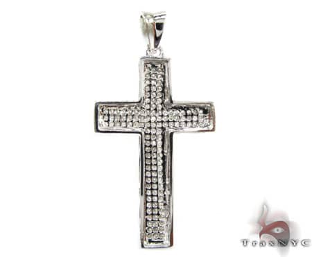 White Gold Mini 3 Row Cross Diamond