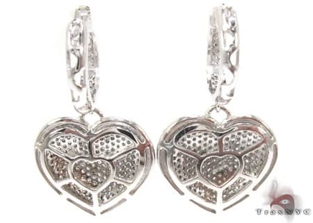 Heart Chandelier Earrings Stone