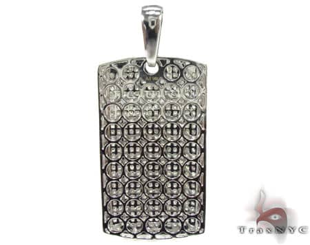 White Pave Dog Tag Style