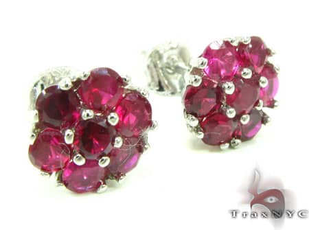 Red Diamond Cluster Earrings Stone