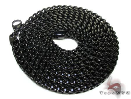Black Stainless Steel Chain 24 Inches, 6mm, 82.1 Grams Stainless Steel
