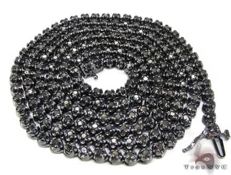 Black Gold Diamond Chain 30 Inches, 4mm, 44.9 Grams Diamond