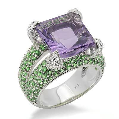 Purple Amethyst Green Garnet Diamond Large Gemstone Ring in White Gold Anniversary/Fashion