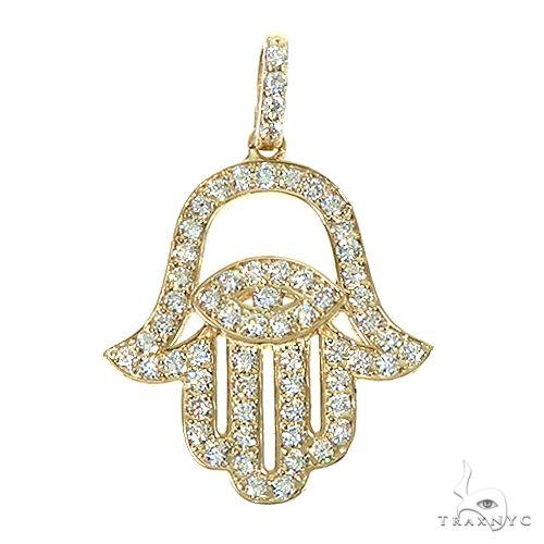 14K  Gold Diamond Hamsa Pendant 66392 Stone