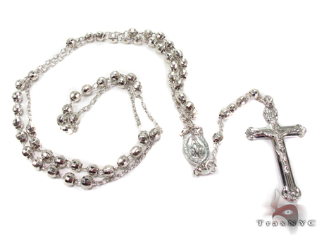 Silver Rosary Chain 26 Inches 5mm 19.5Grams Silver