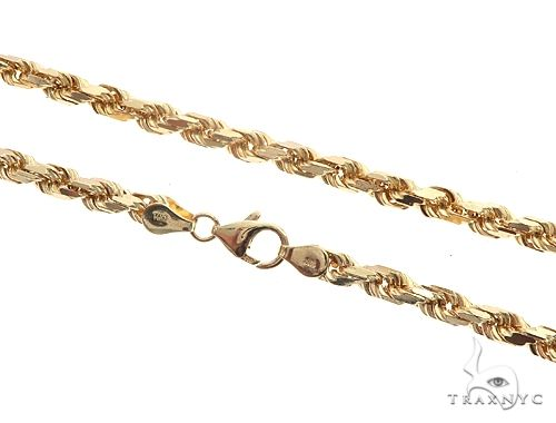 14K 24 Inches Diamond Cut Rope Chain 65077 Gold
