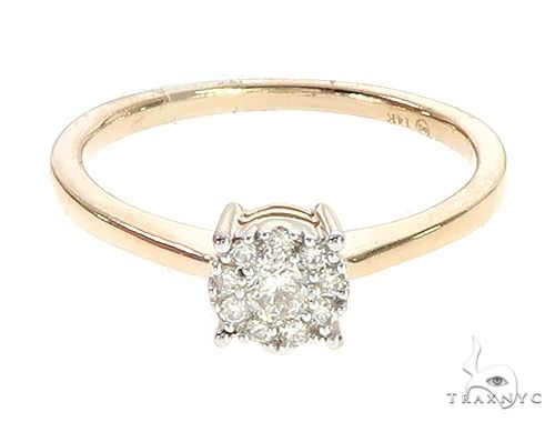 14K Yellow Gold Diamond Fleur Head Engagement Ring Engagement