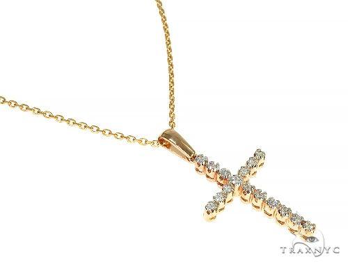 14K Gold  Diamond Cross Set 66287 Style