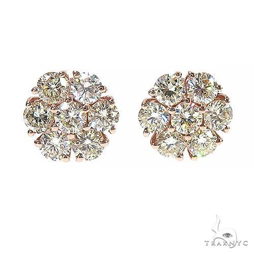 14K Gold 11 Pointer Diamond Flower Earrings 66998 Stone