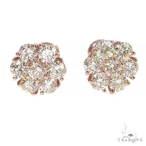 14K Gold 17 Pointer Diamond Flower Earrings 66909 Stone