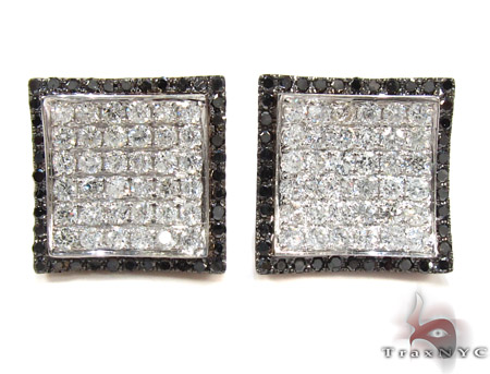 14K Gold Balck and White Diamond Karan Earrings 25572 Stone