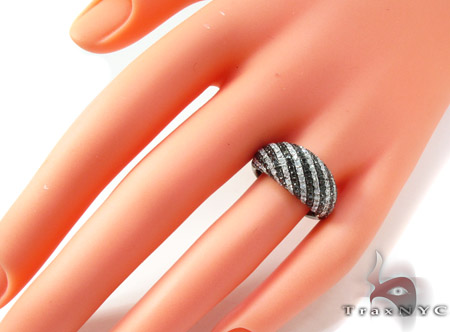 14K Gold Black and White Diamond Stripe Ring 25440 Anniversary/Fashion