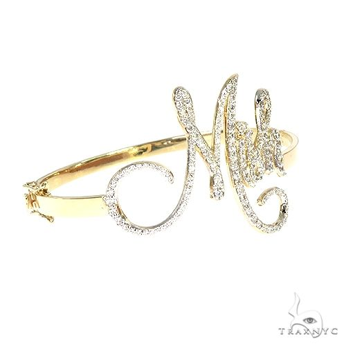 14K Gold Custom Made Bangle Bracelet 66590 Diamond