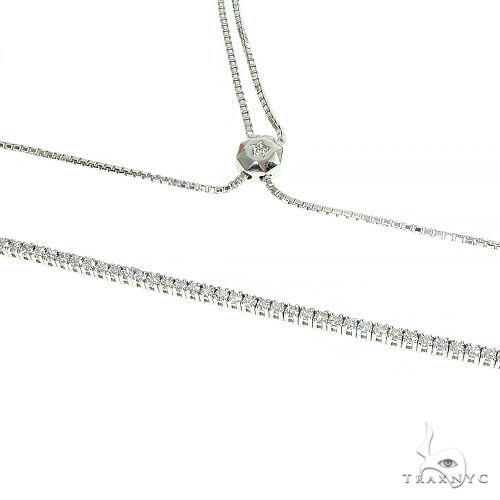 14K Gold Diamond Tennis Adjustable Bolo Chain Necklace 66394 Diamond