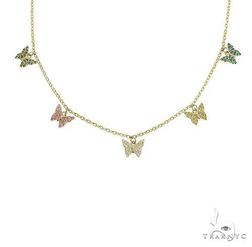 14K Gold Diamond Butterfly Necklace 66445 Diamond
