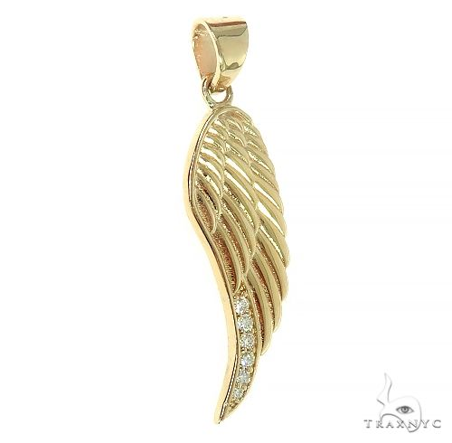 14K Gold Diamond Half Angel Wing 66449 Metal