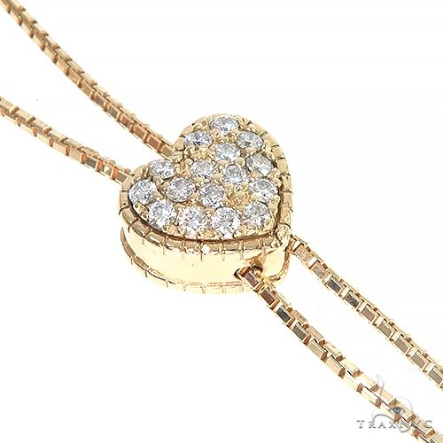 14K Gold Diamond Heart Adjustable Choker Necklace 66544 Diamond