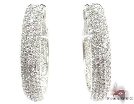 14K Gold Diamond Hoop Earrings 25576 Style