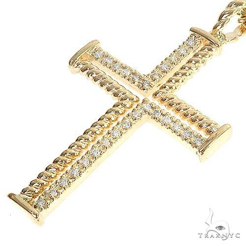 14K Gold Diamond Rope Cross Set 66619 Diamond