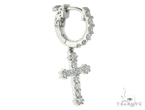 14K Gold Diamond Single Cross Earrings 66198 Stone