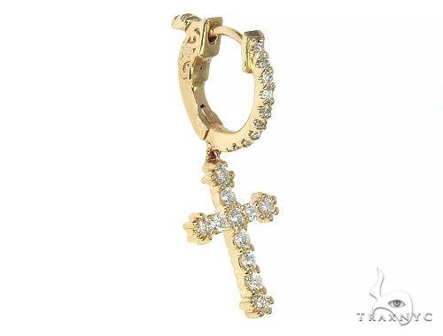 14K Gold Diamond Single Cross Earrings 66199 Stone