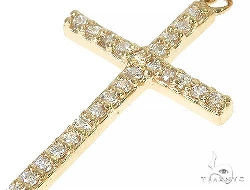14K Gold Diamond Single Cross Earrings 66200 Stone