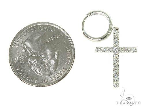 14K Gold Diamond Single Cross Earrings 66201 Stone