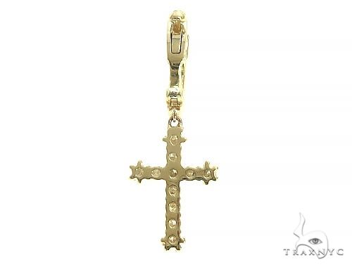 14K Gold Diamond Single Cross Earrings 66202 Stone