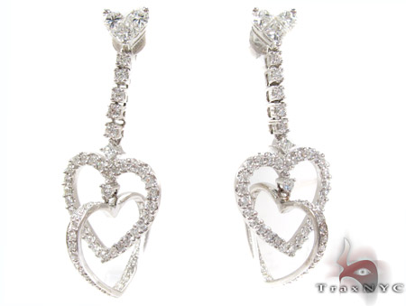 14K Gold Double Heart Diamond Earrings Style