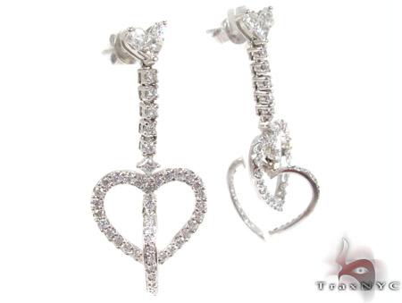 14K Gold Double Heart Diamond Earrings Style