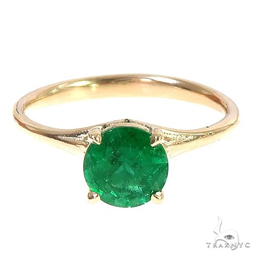 14K Gold Emerald Solitaire Engagement Ring 66603 Engagement