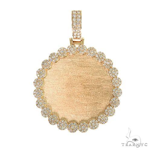 14K Gold Flower Frame Diamond Photo Pendant 66547 Style