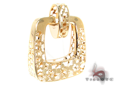 14K Gold Flower Square Pendant 31350 Metal