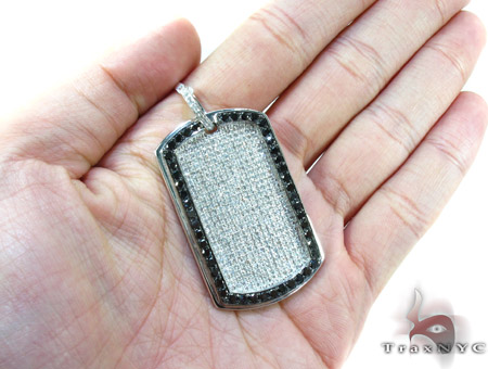 Black Outline Pave Diamond Dog Tag 1 Style