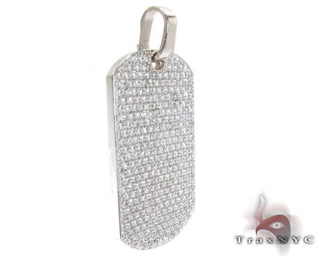 14K Gold Fully Ice Diamond Dog Tag Pendant 25595 Style