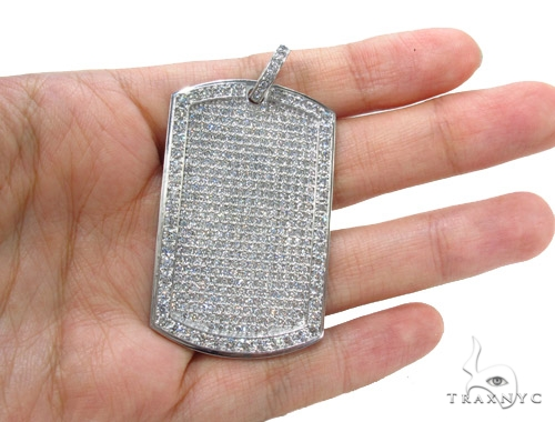 14K Gold Fully Ice Diamond Dog Tag Pendant Style
