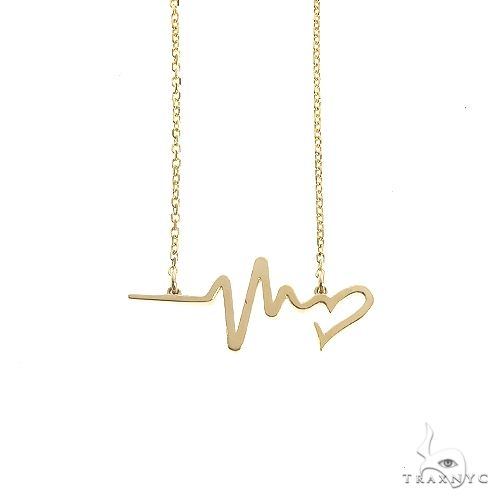 14K Gold Heartbeat Necklace 66541 Gold