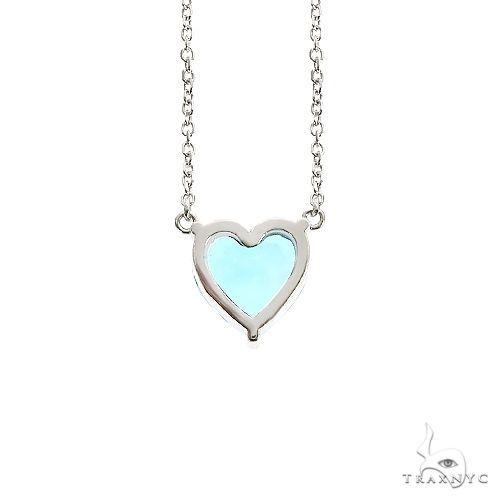 14K Gold Heart Shape Aquamarine Necklace 66750 Gemstone