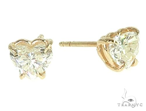 14K Gold Heart Shape Diamond Earrings 66187 Stone