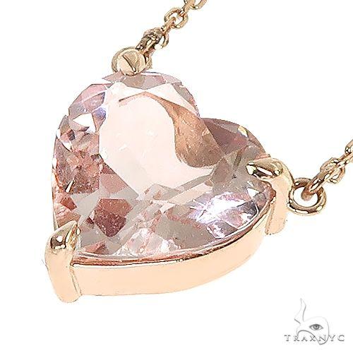 14K Gold Heart Shape Morganite Necklace 66746 Gemstone