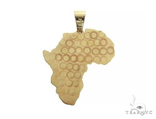 14K Gold Medium African Pendant 66343 Metal