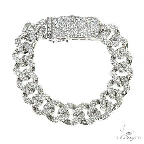 14K Gold Miami Cuban Diamond Bracelet 66390 Diamond