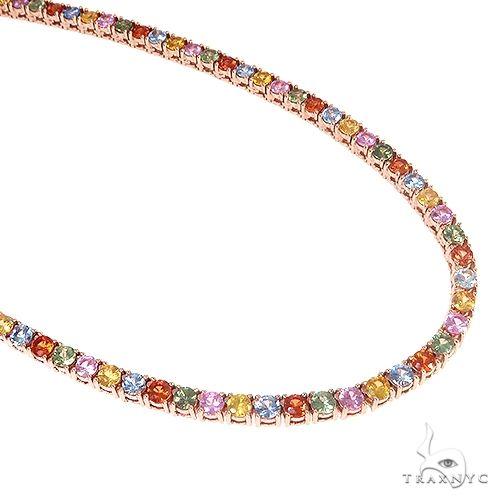 14K Gold Multi Colored Sapphire Tennis Chain 66727 Gold